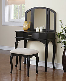 Vanity Set with Stool, Black