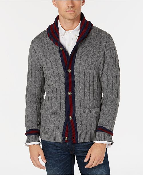 Club Room Mens Contrast Shawl Collar Cardigan Sweater Created For