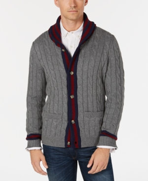 1920s Mens Sweaters, Pullovers, Cardigans Club Room Mens Contrast Shawl-Collar Cardigan Sweater Created for Macys $34.75 AT vintagedancer.com