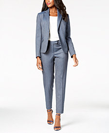 Anne Klein Herringbone Jacket, Mixed-Media Blouse & Slim-Leg Pants, Created for Macy's