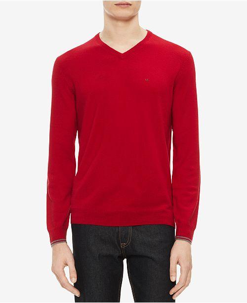 800bdd71a08 Calvin Klein Men s Solid Extra-Fine Merino V-Neck Sweater   Reviews