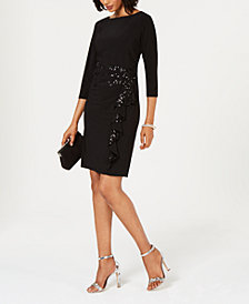 R & M Richards Sequined Ruffle Sheath Dress