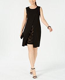 Connected Lace-Trim Envelope Sheath Dress