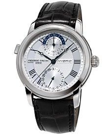 Frederique Constant Men's Swiss Automatic Hybrid Manufacture Connected Black Alligator Leather Strap Watch 42mm