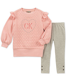 Calvin Klein Little Girls 2-Pc. Quilted Heart Tunic & Leggings Set