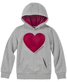 Calvin Klein Big Girls Fuzzy Heart Hoodie