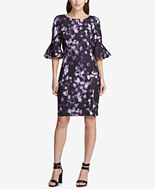 DKNY Printed Bell-Sleeve Sheath Dress, Created for Macy's