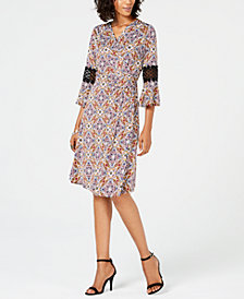 NY Collection Petite Printed Faux-Wrap Dress with Crochet Trim