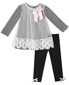Rare Editions Baby Girls 2-Pc. Striped Mesh Tunic & Leggings Set