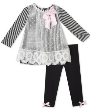 Rare Editions Baby Girls 2Pc Striped Mesh Tunic  Leggings Set