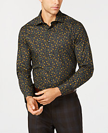 Tallia Men's Slim-Fit Ochre Floral Print Dress Shirt