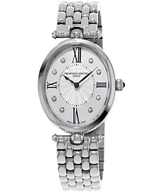 Frederique Constant Women's Swiss Art Deco Diamond-Accent Stainless Steel Bracelet Watch 34x28mm