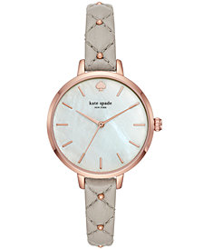 kate spade new york Women's Metro Gray Quilted Leather Strap Watch 34mm
