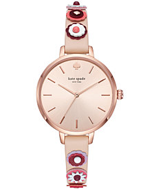 kate spade new york Women's Metro Nude Leather Strap Watch 34mm