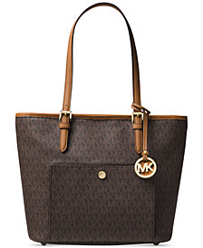 Michael Kors Jet Set Medium Signature Snap Pocket Tote