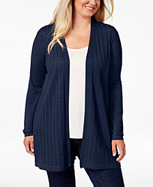 Karen Scott Plus Size Long Pointelle-Knit Cardigan Sweater, Created for Macy's