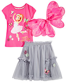 Disney Little Girls 3-Pc. Fancy Nancy Top, Skirt & Wings Set