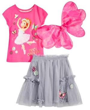 Disney Little Girls 3Pc Fancy Nancy Top Skirt  Wings Set