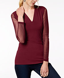 I.N.C. Illusion-Sleeve V-Neck Blouse, Created for Macy's