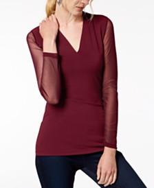I.N.C. Illusion-Sleeve V-Neck Blouse, Created for Macy's