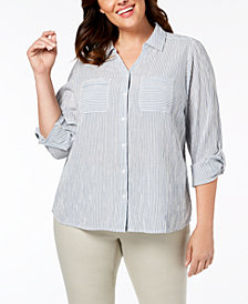 Style & Co Plus Size Cotton Striped Crochet-Trim Shirt, Created for Macy's