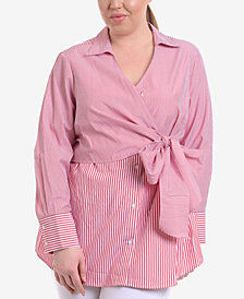 NY Collection Plus Size Wrap-Front Tunic Shirt