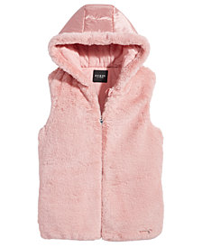 GUESS Big Girls Faux-Fur Full-Zip Hooded Vest