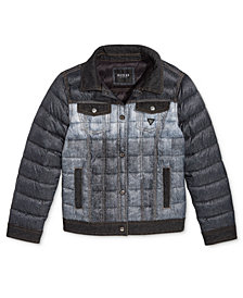 GUESS Big Girls Denim-Look Puffer Jacket