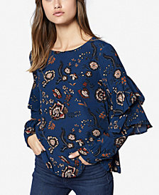 Sanctuary Printed Ruffle-Sleeve Blouse