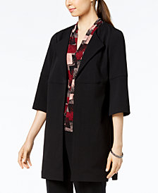 Nine West Wing-Lapel Open-Front Topper Jacket