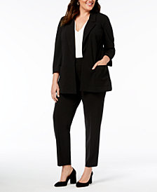 Nine West Plus Size Kiss-Front Jacket & Pull-On Pants