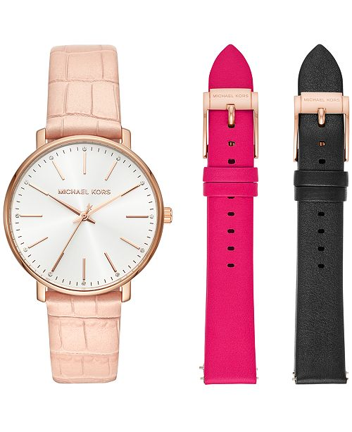 2daba894aa47 Michael Kors Women s Pyper Pink Leather Strap Watch 38mm Gift Set ...