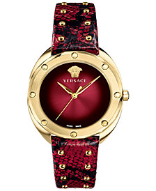 Versace Women's Swiss Shadov Ruby Elaphe Leather Strap Watch 38mm