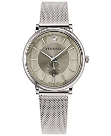 Versace Men's Swiss V-Circle Manifesto Edition Stainless Steel Mesh Bracelet Watch 42mm