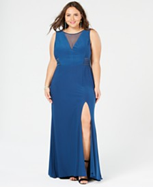 Morgan & Company Plus Size Mesh-Inset Gown