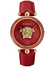 Versace Women's Swiss Palazzo Empire Red Leather Strap Watch 39mm