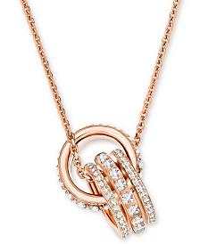 "Swarovski Crystal Interlocking Loop 16-1/2"" Pendant Necklace"