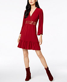MICHAEL Michael Kors Studded V-Neck Dress In Regular & Petite Sizes