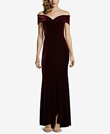 Petite Velvet Off-The-Shoulder Gown