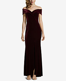 XSCAPE Petite Velvet Off-The-Shoulder Gown