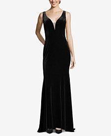 XSCAPE Sleeveless Velvet Gown