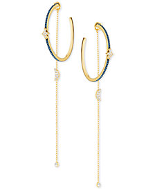 Swarovski Two-Tone Crystal Moon & Stars Hoop Earrings with Removable Chains