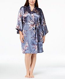 Thalia Sodi Plus Size Printed Woven Short Wrap Robe, Created for Macy's