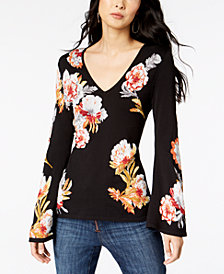 I.N.C. Petite Floral Print Bell Sleeve Sweater, Created for Macy's