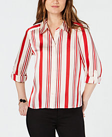 I.N.C. Striped Roll-Tab-Sleeve Shirt, Created for Macy's