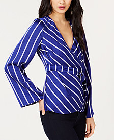 I.N.C. Striped Bell-Sleeve Wrap Top, Created for Macy's
