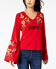 I.N.C. Femme Embroidered Bell-Sleeve Top, Created for Macy's