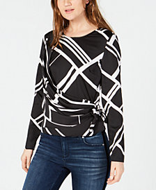 I.N.C. Printed Wrap Top, Created for Macy's