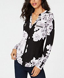INC Petite Long-Sleeve Zip Pocket Shirt, Created for Macy's