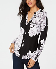 I.N.C. Floral Printed Zip-Detail Top, Created for Macy's
